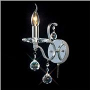 Zinta Single Wall Light in Polished Chrome and Crystal, Switched - DIYAS IL30121